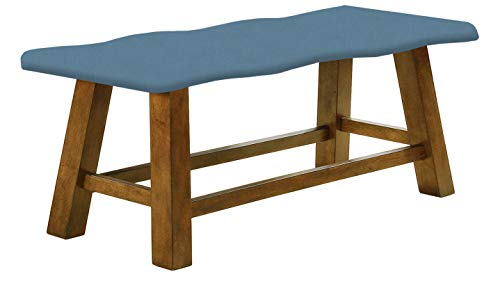"Honey Oak 24"" Tall Counter Height Wavy Bench Featuring Your Choice of a Colored Canvas Covered Padded Seat Cushion (Blue Denim)"