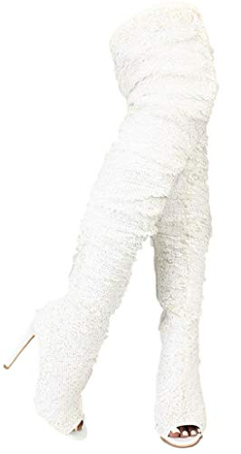 (Weboo Dazzle Women Thigh High Over Knee Sequin Sparkle High Heel Open Toe Boots White 11)