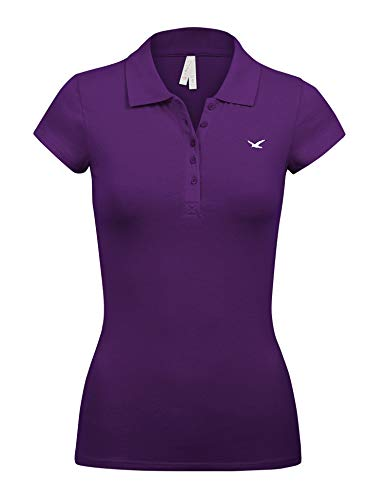 Women's Short Sleeve Grape Color 5 Buttons Slim Fit Polo Shirts(3000-GRAPE-S)