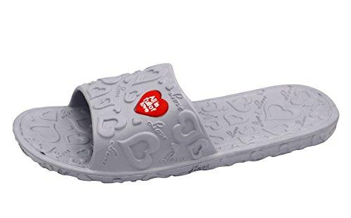 de Insun con 2 deslizador de hombre deslizamiento para en la para gris de piso el Sandalias EVA ducha paquete 6SwHw