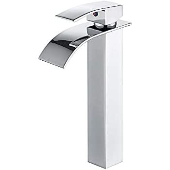 Stainless Steel Waterfall Bathroom Vanity Sink Faucet with