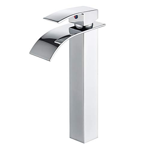 - HOROW Bathroom Waterfall Vessel Sink Faucet, Single Hole Single Handle Vanity Faucet Polished Chrome