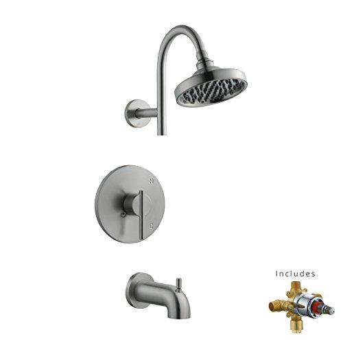 Brass Geneva Tub - Design House 525691 Geneva Tub and Shower Faucet, Satin Nickel