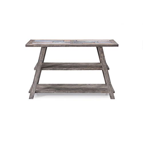 Empire Sofa Table in Cement Gray with Ceramic Tile Top And Open Wood Shelf, by Artum Hill