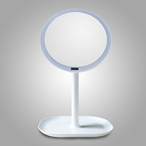 Zantec Sensore infrarosso umano 30LEDs Fill Light Specchio piano cosmetico HD con base, 360 gradi girevole trucco lente di ingrandimento 7X bianco
