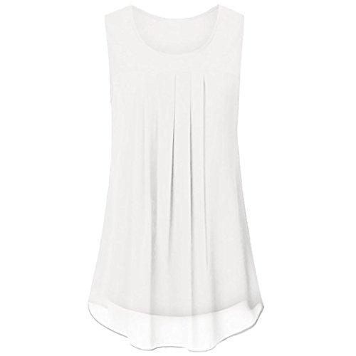 Sexyville Dbardeur Femmes Mousseline de Soie Plier Solide Camisole Vest Chemisier sans Manche Tops T-Shirt Gilet Blanc