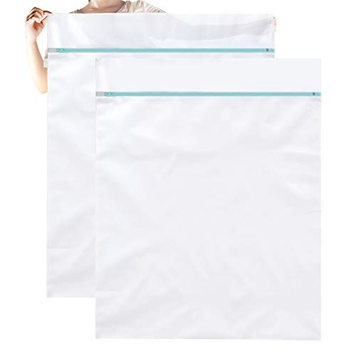 OTraki Mesh Laundry Bag Large 2 Pack 43 x 35inch Jumbo Delicates Wash Bag Premium Zipper Heavy Duty Camp Travel Big Net Bags Washing Sweater, Bedding, Robes, Blanket, Baby Toys Huge Organizer White