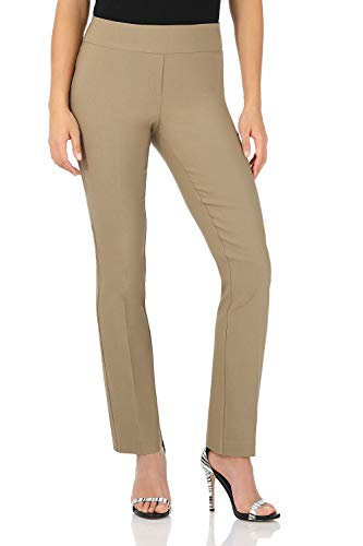 Rekucci Women's Ease in to Comfort Straight Leg Pant with Tummy Control (12,Oatmeal)