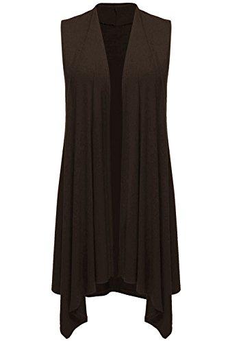 Uniboutique Women's Asymetric Hem Sleeveless Open Front Drape Cardigan Sweater Vest Dark Brown XXL by Uniboutique