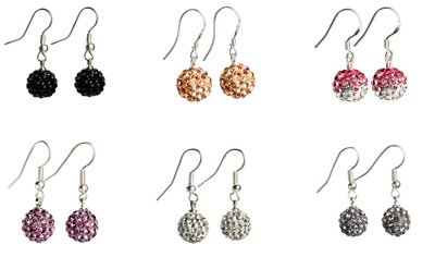 10mm CZ crystal pave sparkle hoop dangle earrings 7 colors selectable