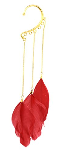 - Cool Statement Long Gold Tone Chain Three Feather Ear Cuff Earring Wrap Sexy Fashion Jewelry (Red)