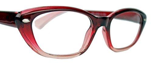 Damen Lesebrille im Cat Eye Stil Retro Brillengestell 50er 60er Jahre GLB (Rot Ombre +3.0 dpt)