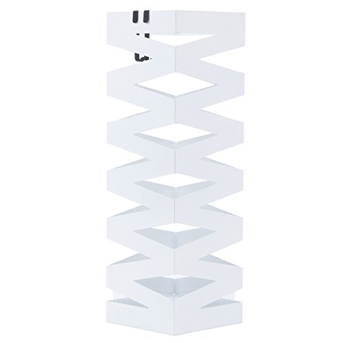 Songmics metall Schirmständer, Wasserauffangschale und Haken werden verschenkt 49 cm weiß LUC16W