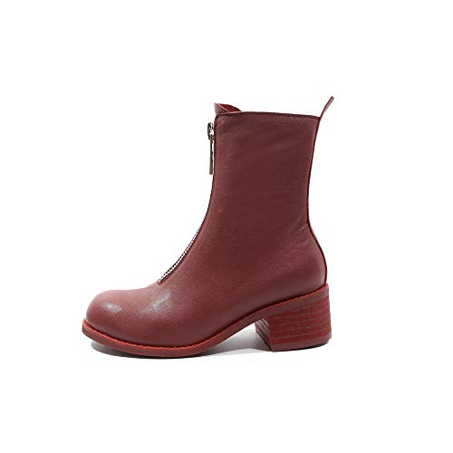 Zip Heel Calf Seven Dress Comfort Round Boots Nine Women's Red Walking Chunky Genuine Mid Handmade Toe Mid Leather zdqwF8qZ