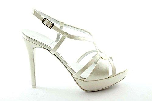 MELLUSO TH430N marfil zapatos blancos Mujer escándalo correa en el talón Bianco