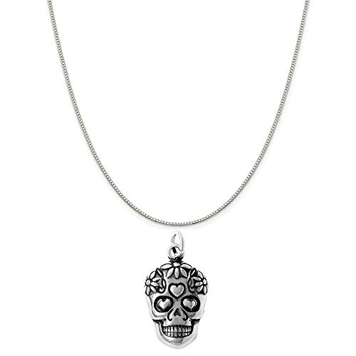 Raposa Elegance Sterling Silver Sugar Skull Charm on a Sterling Silver 20