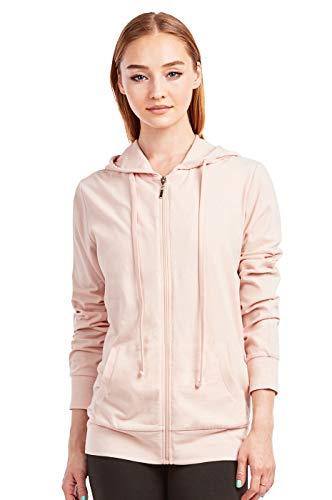 Women's Thin Cotton Zip Up Hoodie Jacket (M, Blush) (Best Hoodies For Summer)