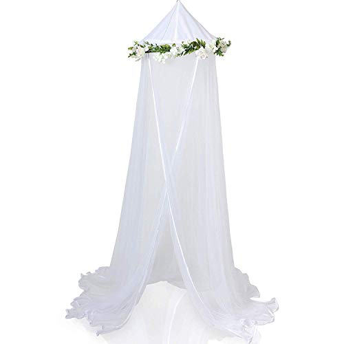 CIPARK Enchanted Bed Canopy Mosquito Net For Girls,Kids,Baby,With Detachable Cream Rose and Ivy Garland-Twin Size,White with Satin Trim-Perfect Boho Woodland Nursery Decor