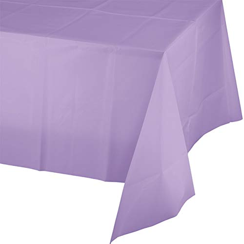 (Mountclear 12-Pack Disposable Plastic Tablecloths - 54 x 108 Inch Size Table Cover (Lavender))
