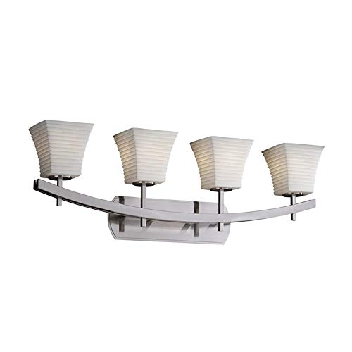 Justice Design Group Lighting POR-8594-40-SAWT-NCKL Archway Four Light Bath Bar