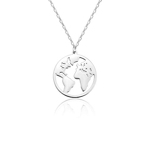 Seyaa World Map Round Globe Pendant Necklace for Women Girls BFF Stainless Steel Silver Continents Charm Circle Dainty Chain Jewelry Friendship Graduation Gift