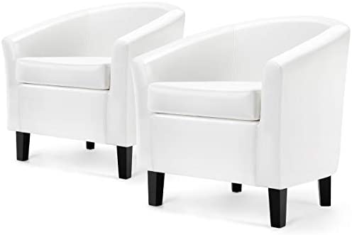 Topeakmart Modern Faux Leather Club Chair Comfy Upholstered Accent Arm Chair Small Single Sofa Chair Living Room Chairs Funiture Commercial Barrel Chair Set of 2, White