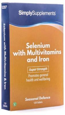 Selenio 200 mcg con Multivitaminas y Hierro - 120 comprimidos - Hasta 4 meses de suministro - Refuerza la función de la tiroides - SimplySupplements
