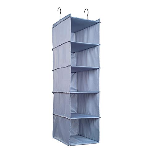 IsHealthy Hanging Closet Organizer and Storage 5-Shelf, Easy Mount Foldable Hanging Closet Wardrobe Storage Shelves, Clothes Handbag Shoes Accessories Storage, Washable Oxford Cloth Fabric, Gray (Design Online Tool Organizer Closet)