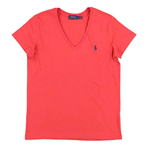 (Polo Ralph Lauren Womens V-Neck Jersey Tee (Large, Post Red))