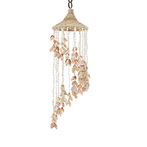 SandT Collection Chula Shells Windchime with Hat 6x24 Seashell Chimes - White]()