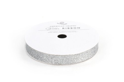 American Crafts Glitter Ribbon Strips, 3/8-Inch, Solid Silver (Glitter Solid Silver)