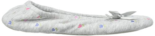 Terry Embroidered Grey Ballerina Women's ISOTONER Heather wEqgCZ
