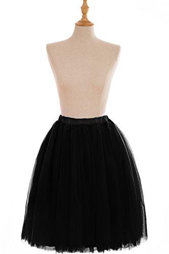 Babyonline Falda de tul mini tutú con varias capas y cintura elástica negro