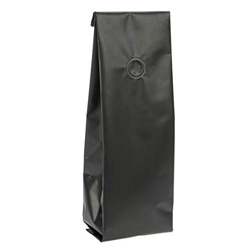 """Matte Black Coffee Bag with Valve   50 Quantity   Size: 3 3/8"""" x 2 1/2"""" x 13"""" Holds 12 to 16 oz. of Coffee Beans   Room to Add Your Logo & Product Stickers   Food Safe Material   SGC2BM"""