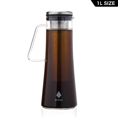 Cold Brew Iced Coffee Maker and Teapot Infuser - 1L Glass Pitcher Carafe with Removable Stainless Steel Infuser, Airtight Lid and FREE Cleaning (Brews Teapot)