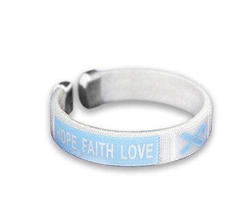 Fundraising For A Cause Prostate Cancer Awareness Light Blue Bangle Bracelet - Hope Faith Love - Adult Size (1 Bracelet - Retail)