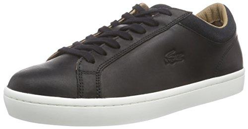 Lacoste STRAIGHTSET CRF - zapatilla deportiva de cuero hombre negro - Schwarz (BLK 024)