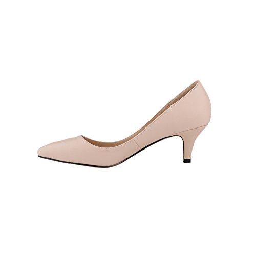 fereshte Women's Closed Toe Low Heels Matt Leather Comfort Dress Shoes Nude