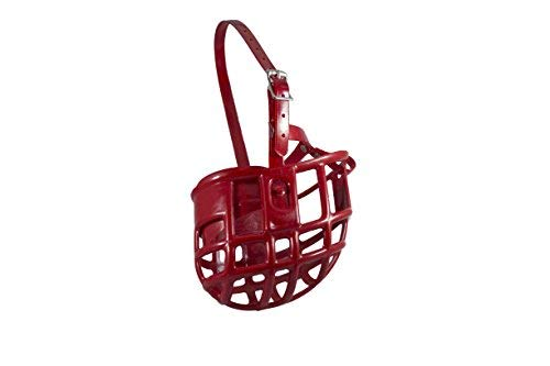 Birdwell Enterprises - Plastic Dog Muzzle with Adjustable Plastic Coated Nylon Headstall - Made in The USA - (Large, Red)