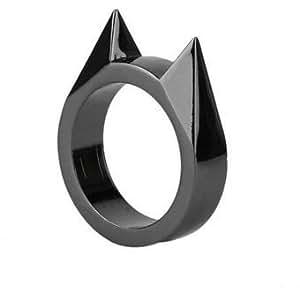 Anillo Orejas De Gato Defensa Personal Color Negro Moderno