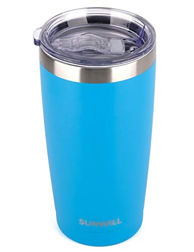 SUNWILL 20oz Tumbler with Lid, Stainless Steel Vacuum Insulated Double Wall Travel Tumbler, Durable Insulated Coffee Mug, Powder Coated Royal Blue, Thermal Cup with Splash Proof Sliding Lid