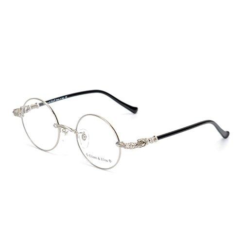 Eileen&Elisa Round Vinatge Glasses Frame Metal Clear Lens Reading Eyeglasses with Case (Silver, 45) (Glasses Vinatge)
