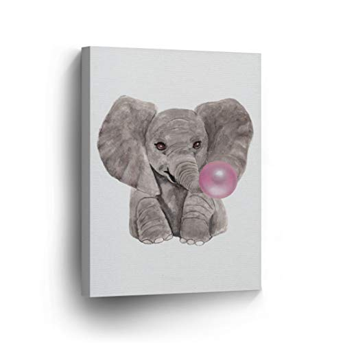 Ideas Rooms Painting (Cute Baby Elephant Animal Decor Bubble Gum Art Pink Canvas Print Watercolor Painting Wall Art Kids Gift Decor Stretched Ready to Hang- Handmade in The USA - 12x8)
