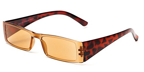 Readers.com The Hayden Tinted Computer Reader +2.00 Brown Tortoise with Light Amber Lenses Unisex Rectangle Reading - Google.com Glasses