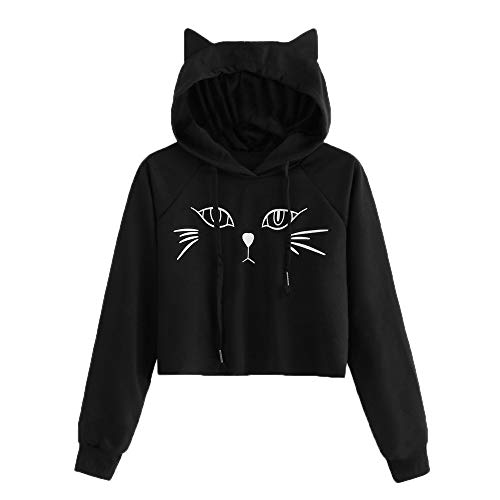 Fashion Women Hoodies Sweatshirt GREFER Girl Casual Warm Long Sleeve Jumper Pullover Print Blouse (S, Black-1) -