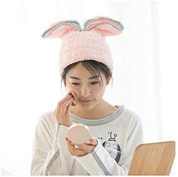 CQIANG キャップ、ヘアドライヤーキャップ、超かわいいウサギの耳ドライヘアーキャップ、吸水性髪のタオル、マイクロファイバーシュウ綿ビロードビッグウサギの耳-グリーンシャワー (Color : Light pink)