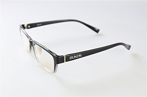Blue Light Blocking Glasses by Bukos - Unisex - Men or Women - FDA Approved - Custom Black Fading to Clear! - Reduce Eyestrain / Headaches - Computer / Gaming - Strain Eye Can Reduce Sunglasses