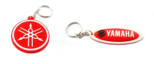 2-x-yamaha-rubber-keychain-key-ring-circle-and-oval