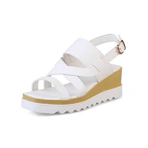 1TO9 Womens Wedges Platform Buckle Urethane Platforms Sandals MJS02835 White