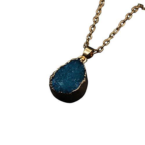 kanyankeji Irregular Crystal Choker Natural Gemstone Rose Quartz Healing Crystal Stone Pendant Necklace Gold Chain Dad's Gift